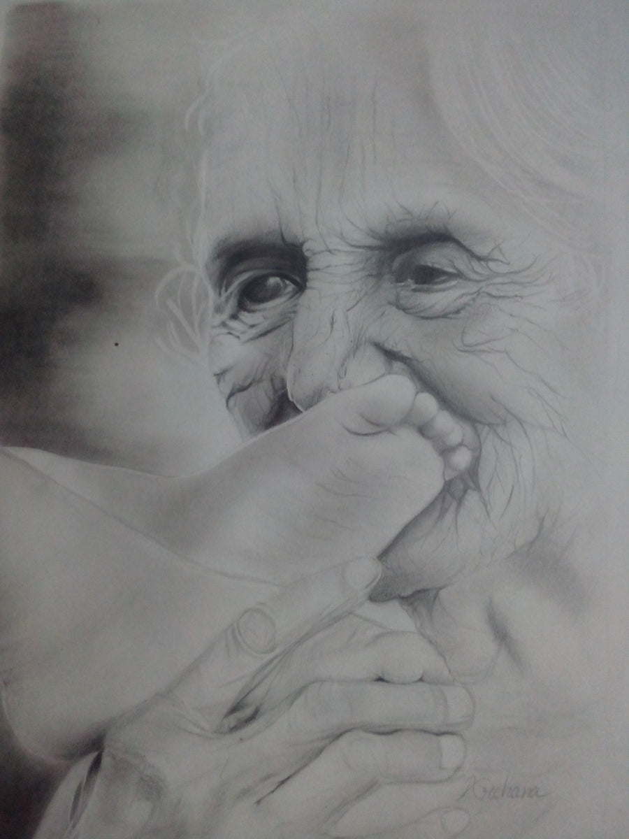 archana mala charcoal loveing mother wydr - digital art gallery
