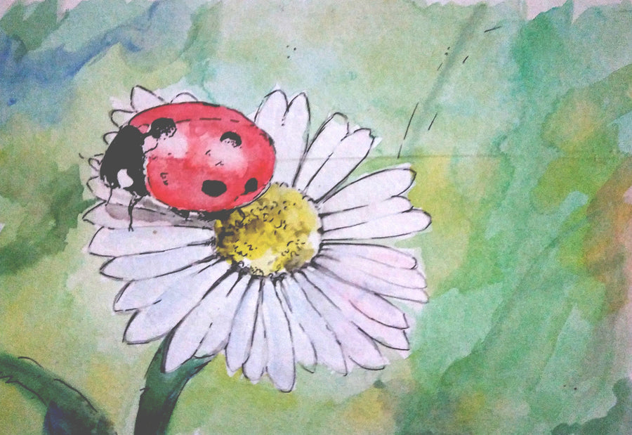 Art by Amy Frace Painting The Ladybug wydr - digital art gallery
