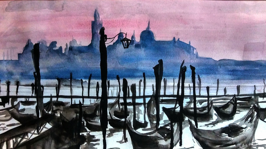 Art by Amy Frace Painting Venice Boat Dock wydr - digital art gallery