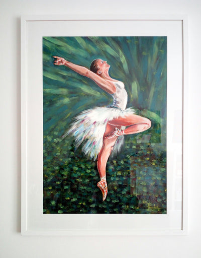 Arte Phoebe Acrylic Paint Ballerina in White wydr - digital art gallery