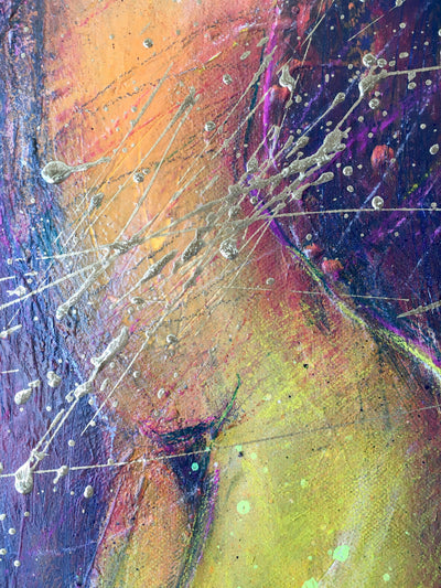 Bea Garding Schubert mixed media (acrylic, spray paint, soft pastel, pencil, pastel, gold) on canvas golden moments (S) wydr - digital art gallery
