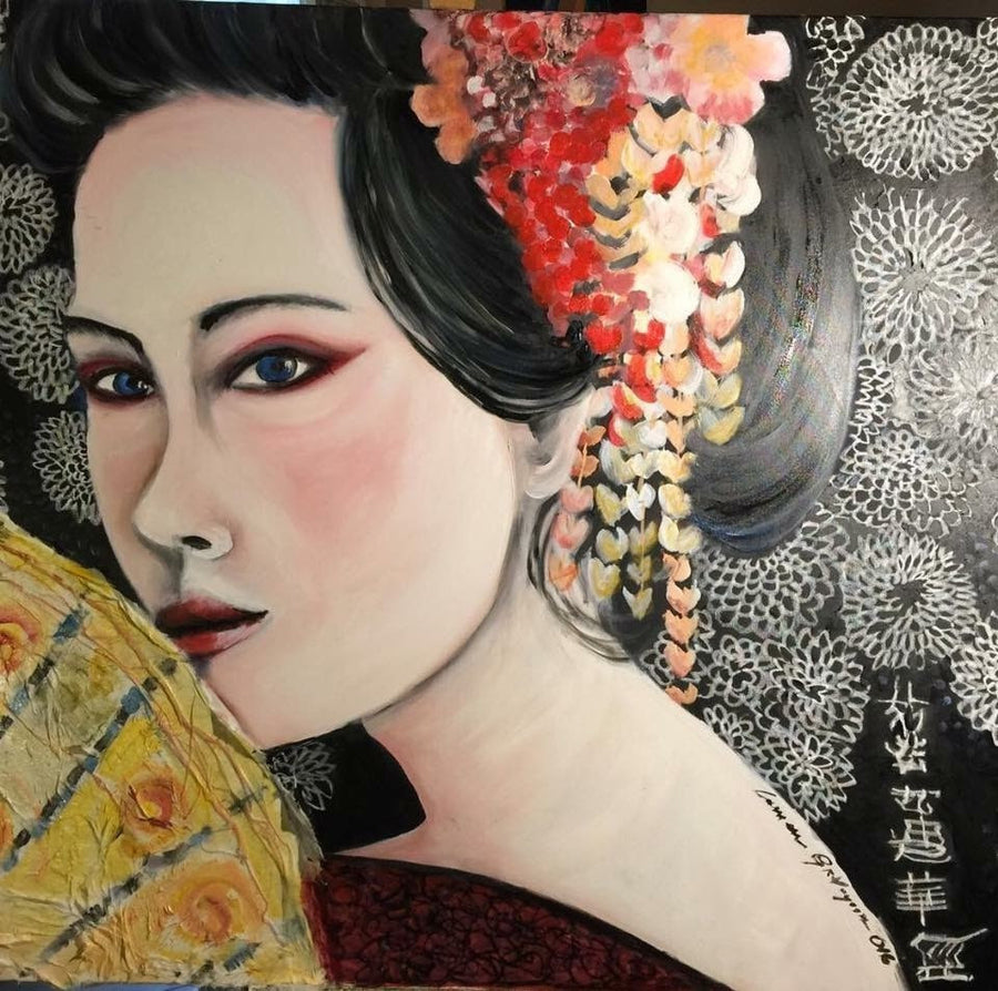 Carmen Gravagna Oil on canvas and collage Geisha wydr - digital art gallery
