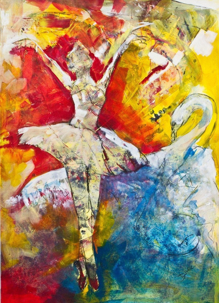 Diana Linsse Acrylic and Charcoal on Canvas Dance wydr - digital art gallery