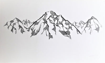 Estis Ink Drawing Mountain/Bergen wydr - digital art gallery