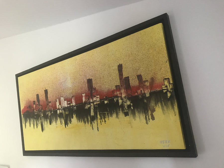FERK Original painting, acrylic, canvas - original art BURNING CITY wydr - digital art gallery