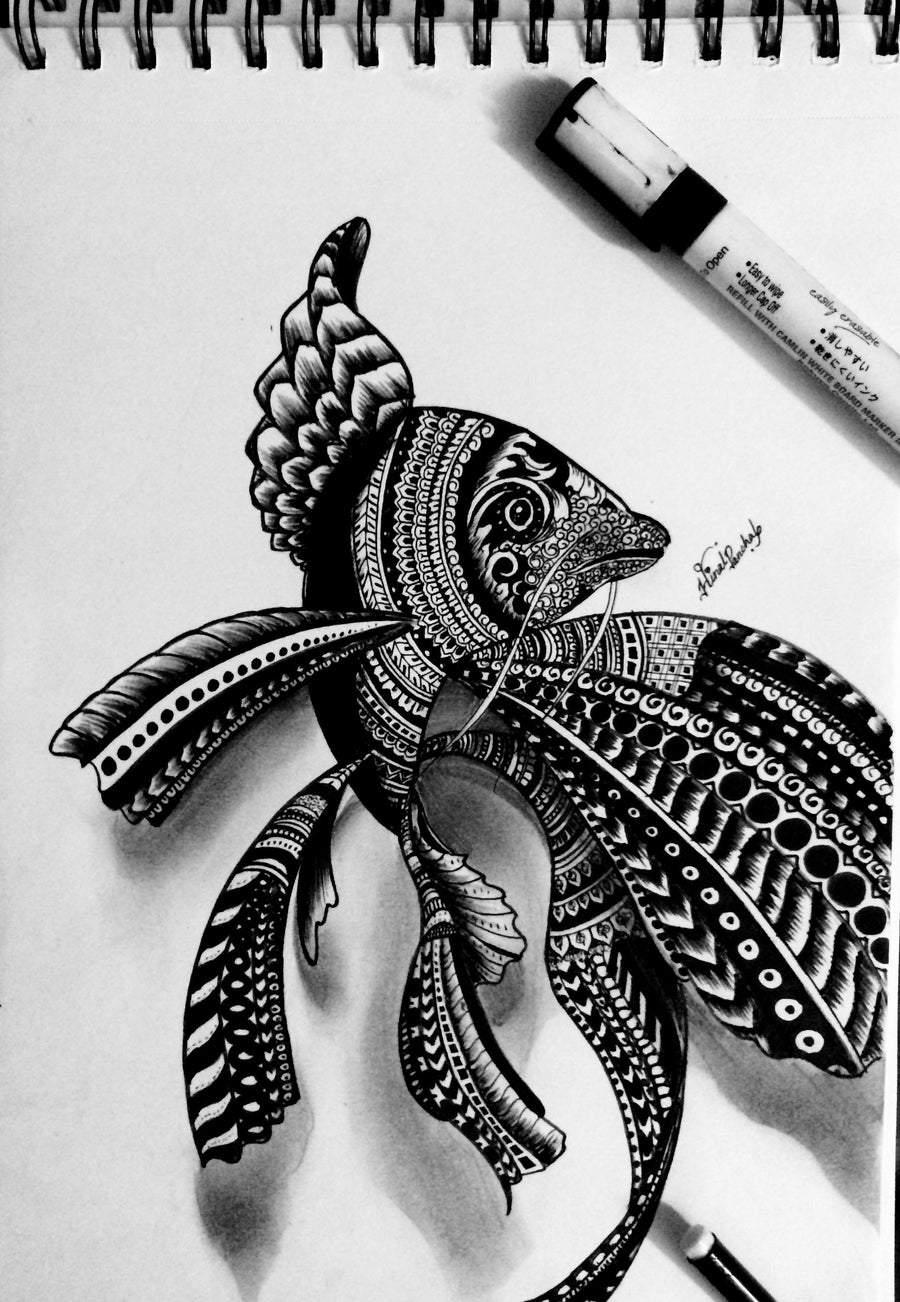 Hinal Panchal Ball pen,Maker,sketch pens Sea animal with miniatures wydr - digital art gallery