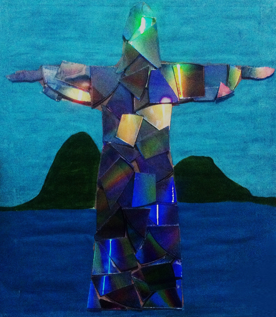 Humberto Matos Draw, Painting and recycling Cristo Redentor wydr - digital art gallery