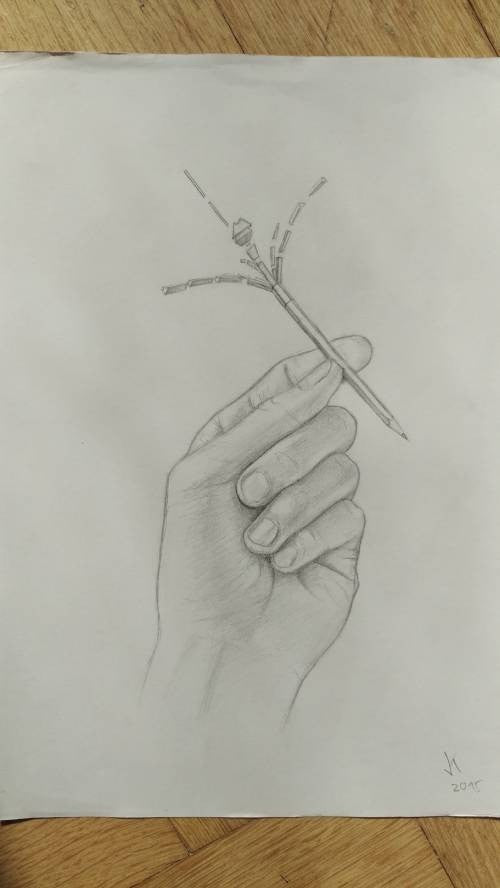 Jean Kesselring painting Hand holding pencil wydr - digital art gallery