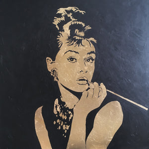 Kolja Brand painting Audrey Hepburn in gold wydr - digital art gallery