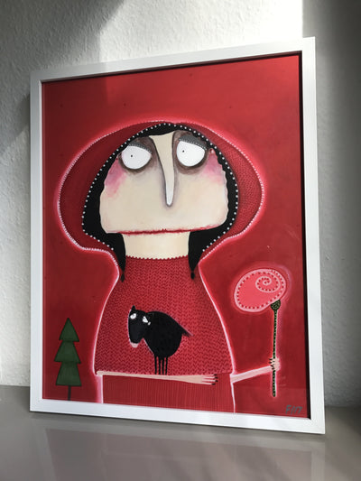 Lacaluna Acrylic painting Gudrun Euler in Little-Red-Rinding-Hood-Uniform wydr - digital art gallery
