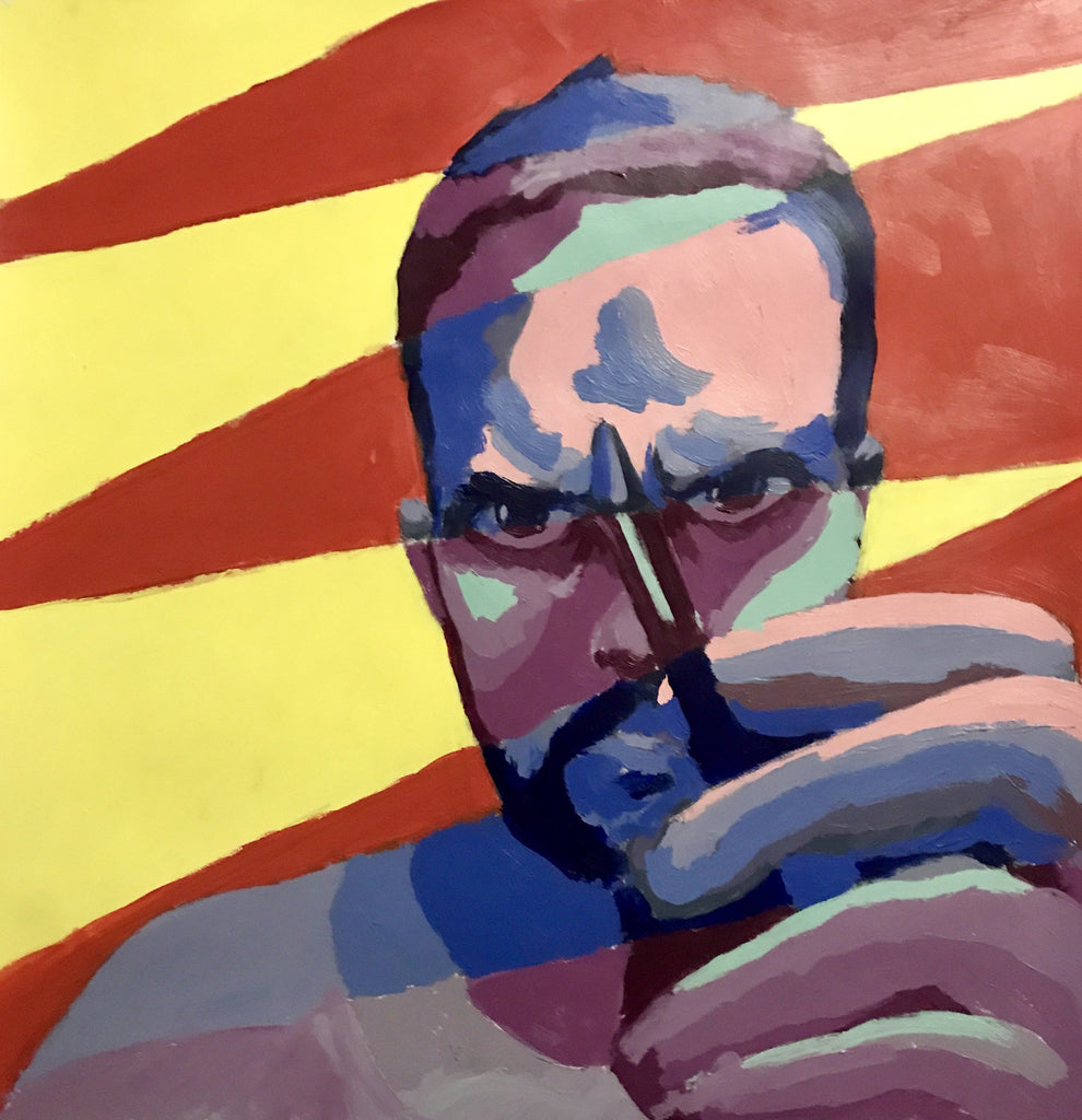Luis F. Guevara Acrylic paint on paper Self-portrait 2 wydr - digital art gallery