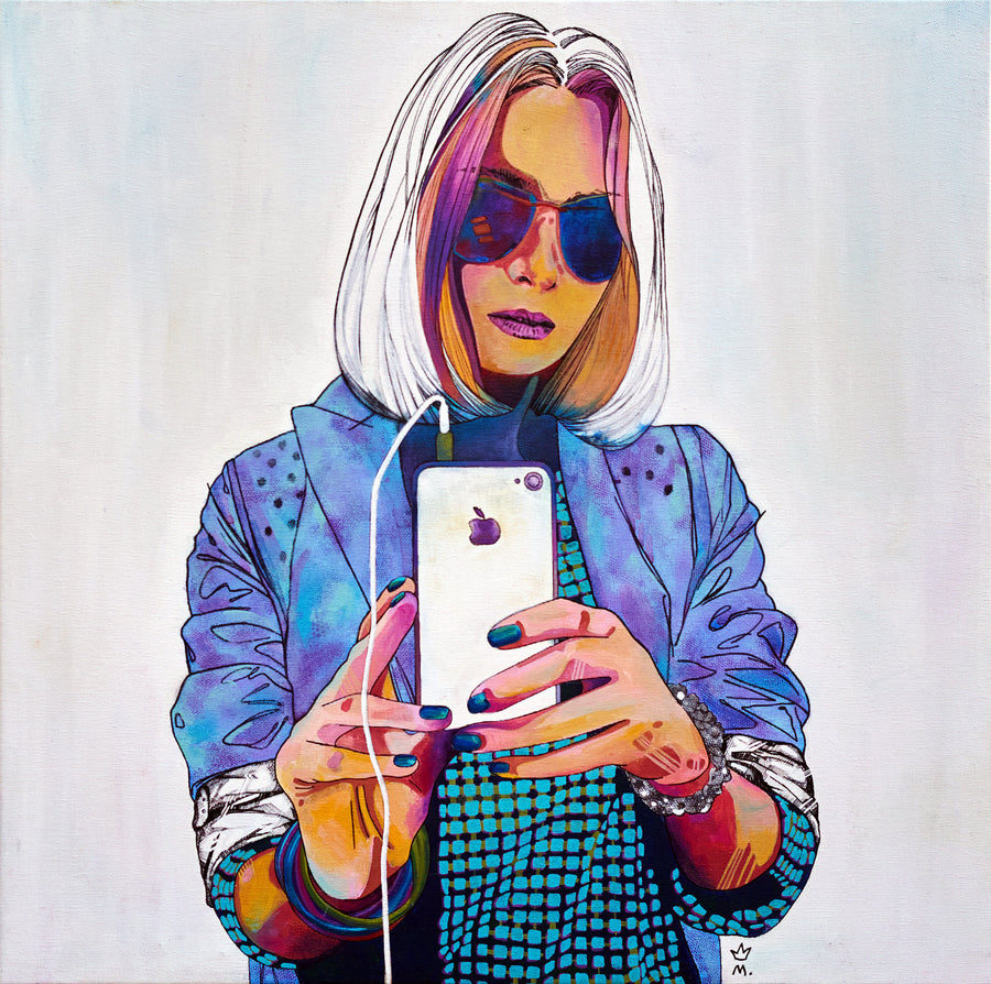Marina Zvidrina acrylic Anna taking selfie wydr - digital art gallery