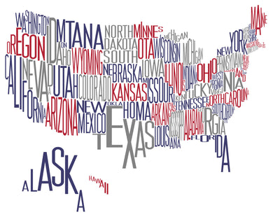 "Pascal Wyss digital Typo-Map ""USA"" wydr - digital art gallery"