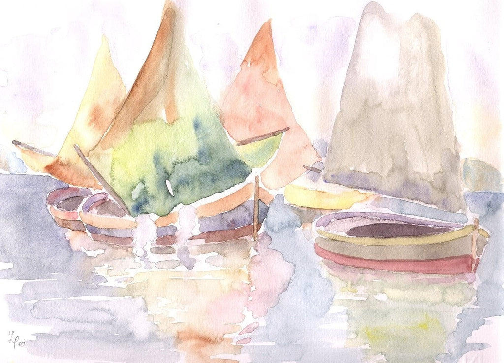 Pasquale Lombardo watercolor Boats in the lagoon wydr - digital art gallery