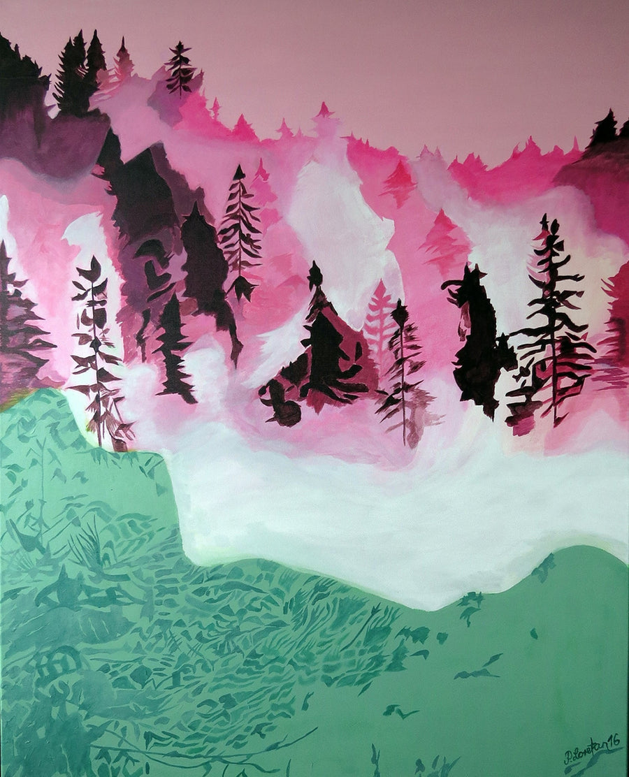 Peter Loretan 2016 Acrylic on Canvas Fog in pink Forest wydr - digital art gallery
