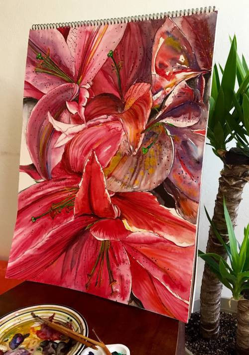 Priyanka reddy Oriental lily- Bloom wydr - digital art gallery
