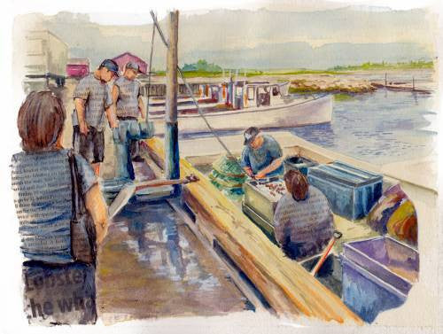 Rainer Wenzl painting Aboiteau Wharf, NB Crab Season wydr - digital art gallery