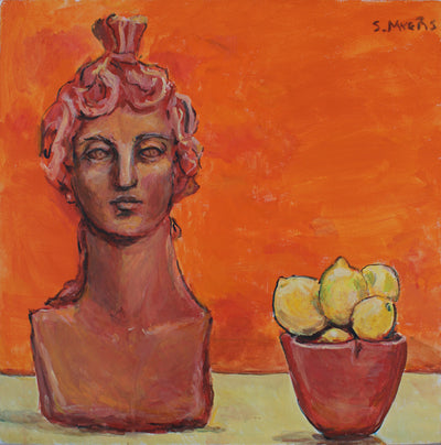 Sarah Myers acrylic Still-life with Sculpture and Lemons wydr - digital art gallery