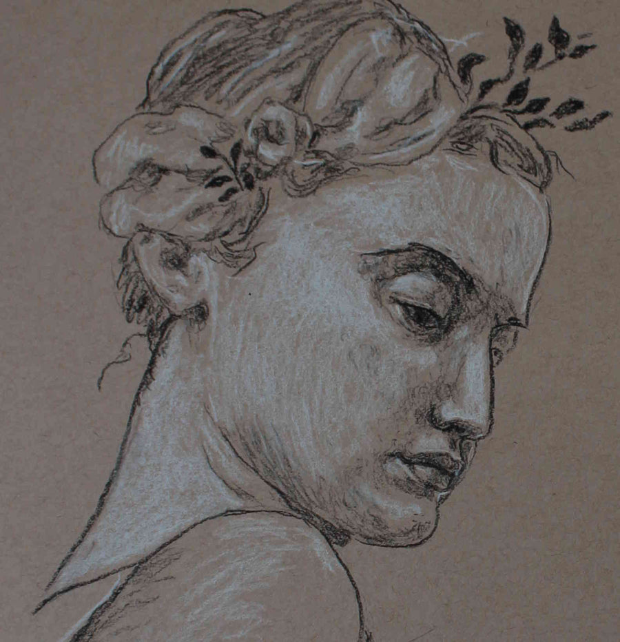 Sarah Myers charcoal Woman with a Rose wydr - digital art gallery