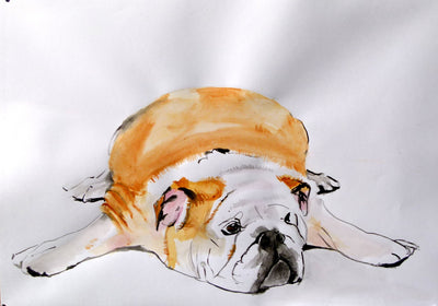 soso kumsiashvili acrylic on paper bulldog wydr - digital art gallery