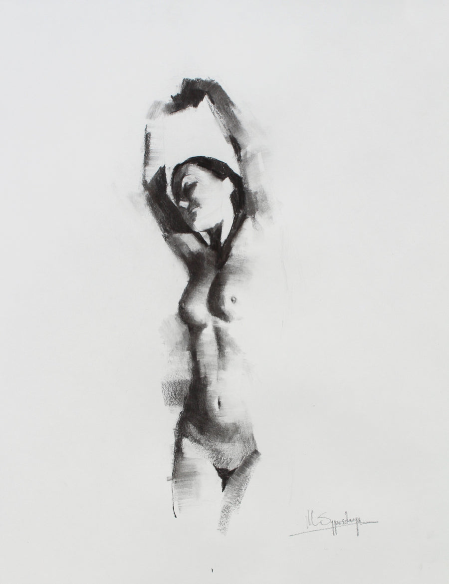 Sypart Illustraties Charcoal on paper Woman Stretching wydr - digital art gallery