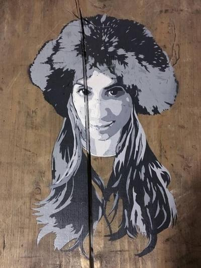Tobias Straka Multiple Layer Stencil on Wooden Crate Furry Hat wydr - digital art gallery
