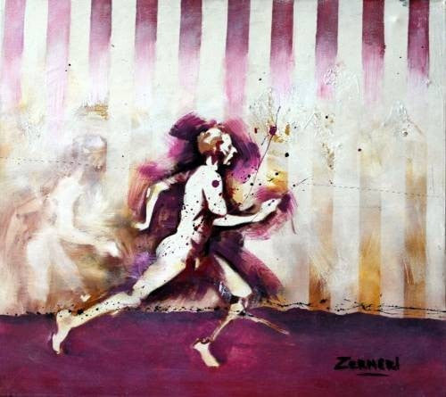 Zerneri acrylic Hombre corriendo Violet wydr - digital art gallery