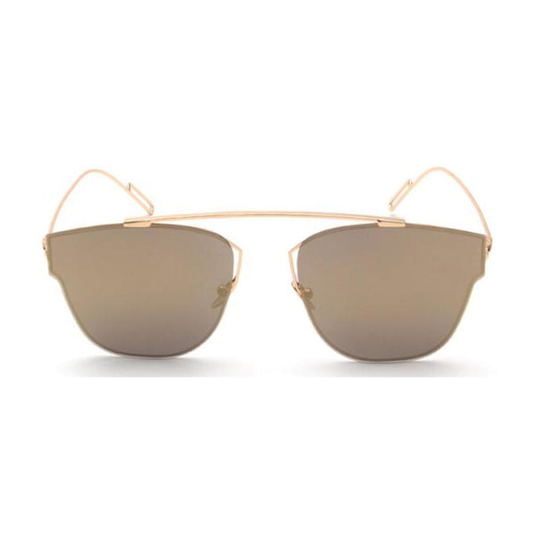 Aviator mirrored sunglasses gold frame