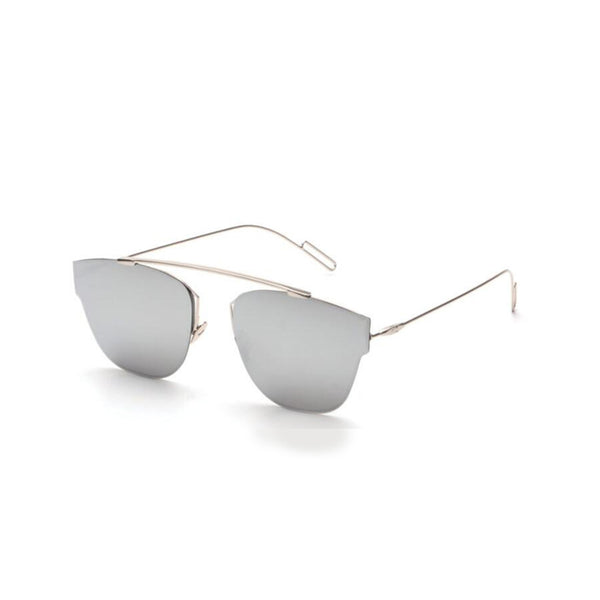 Aviator mirrored silver sunglasses silver frame