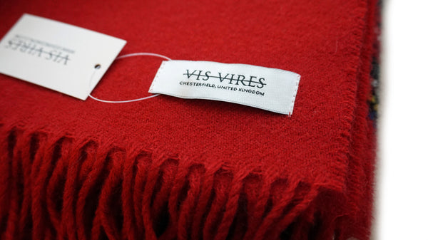Vis Vires Highlands Scarf Collection - Red 100% pure brushed lambs wool  made in scotland
