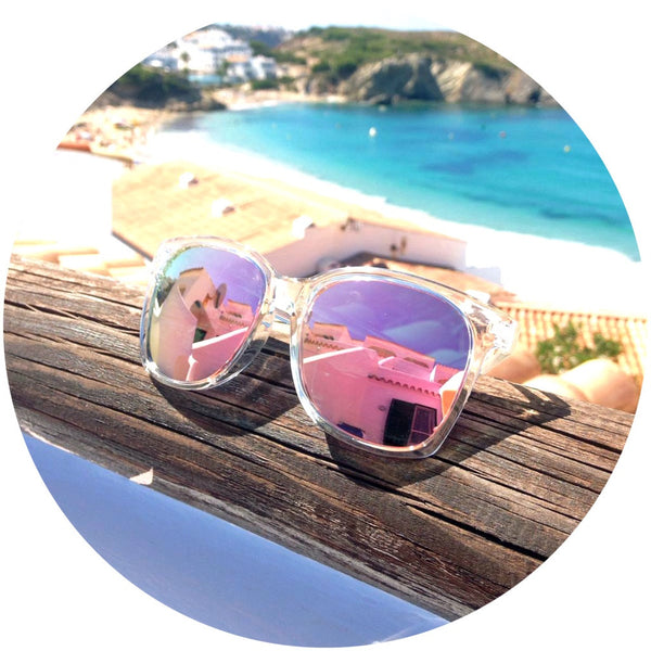 polarised pink sunglasses clear frame