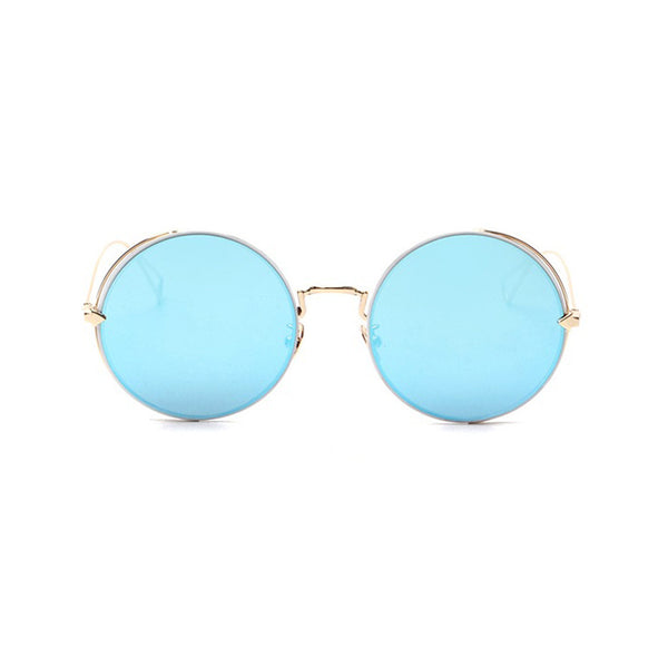 mirrored blue sunglasses gold frame
