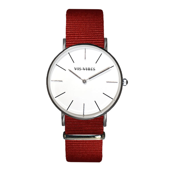 Vis Vires Womens Burgundy Timepiece 36mm Silver