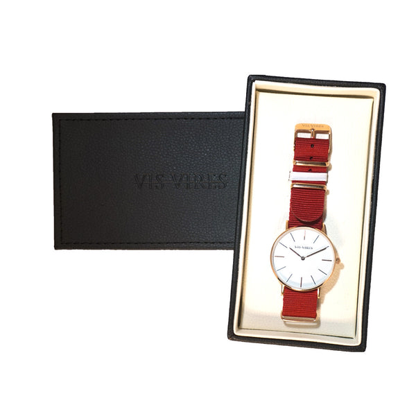 Vis Vires Womens Burgundy Timepiece 36mm Rose Gold