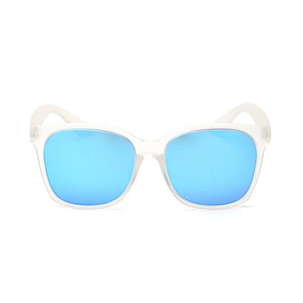 polarised blue sunglasses clear frost frame