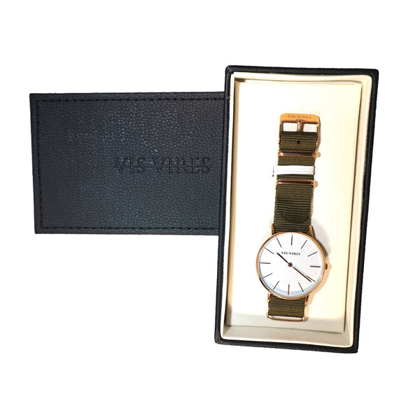 Vis Vires Womens Khaki Timepiece 36mm Rose Gold