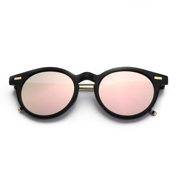 mirrored pink/green sunglasses with black and silver frame