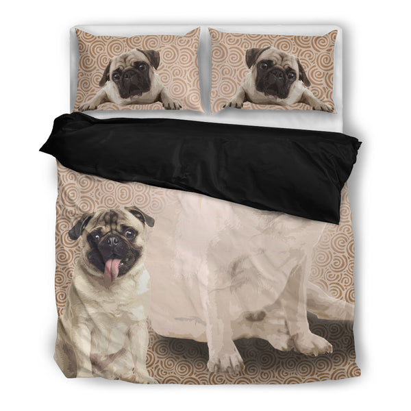 Pug 4 Duvet Bedding Set Black
