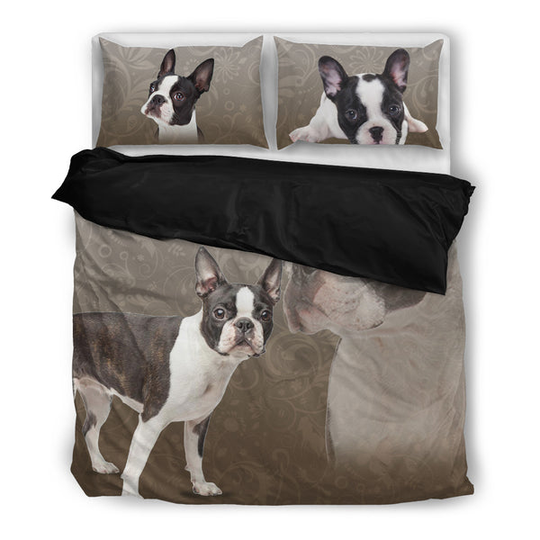 Boston Terrier 4 Duvet Bedding Set Black