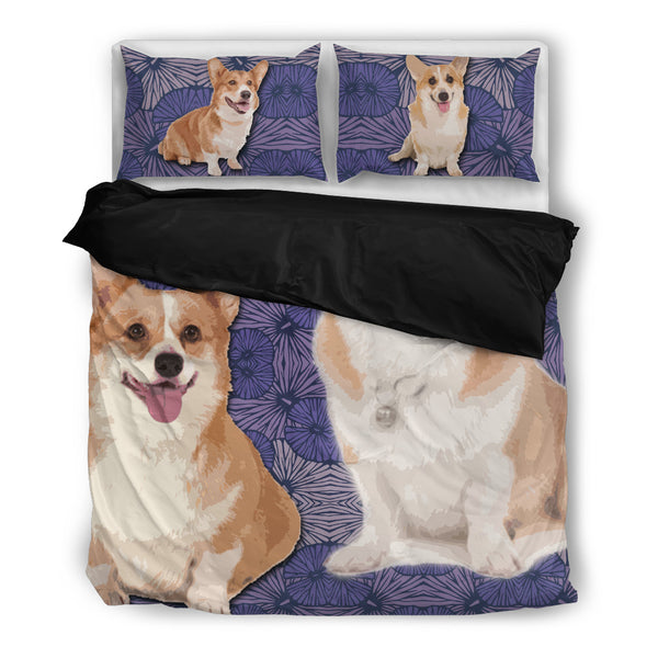 Corgi 4 Duvet Bedding Set Black