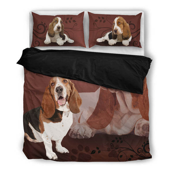 Basset Hound 4 Duvet Bedding Set Black