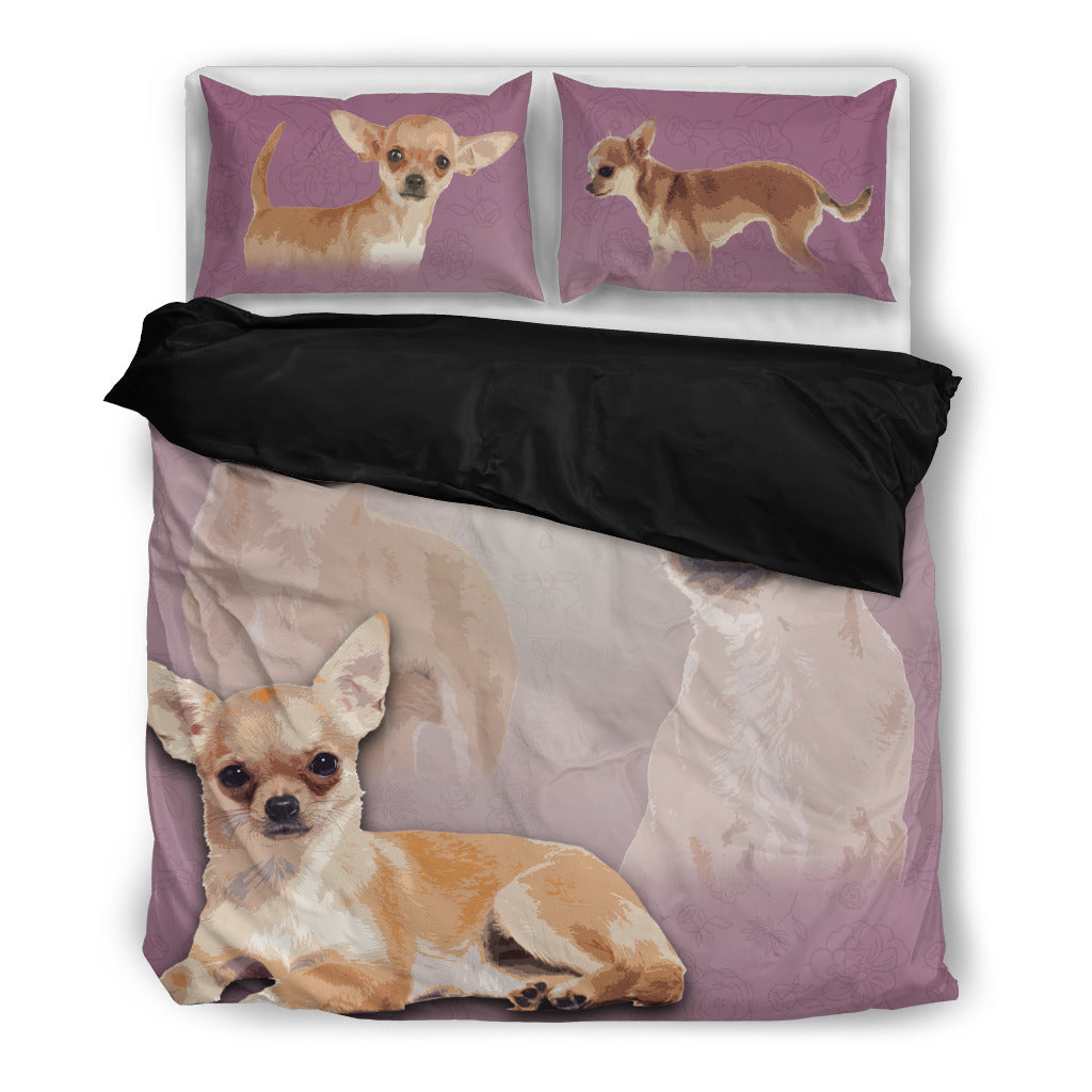 Chihuahua 4 Duvet Bedding Set Black
