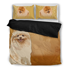 Pomeranian 4 Duvet Bedding Set Black