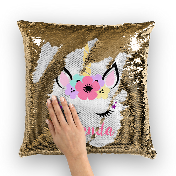 Unicorn Sequin Cushion Cover