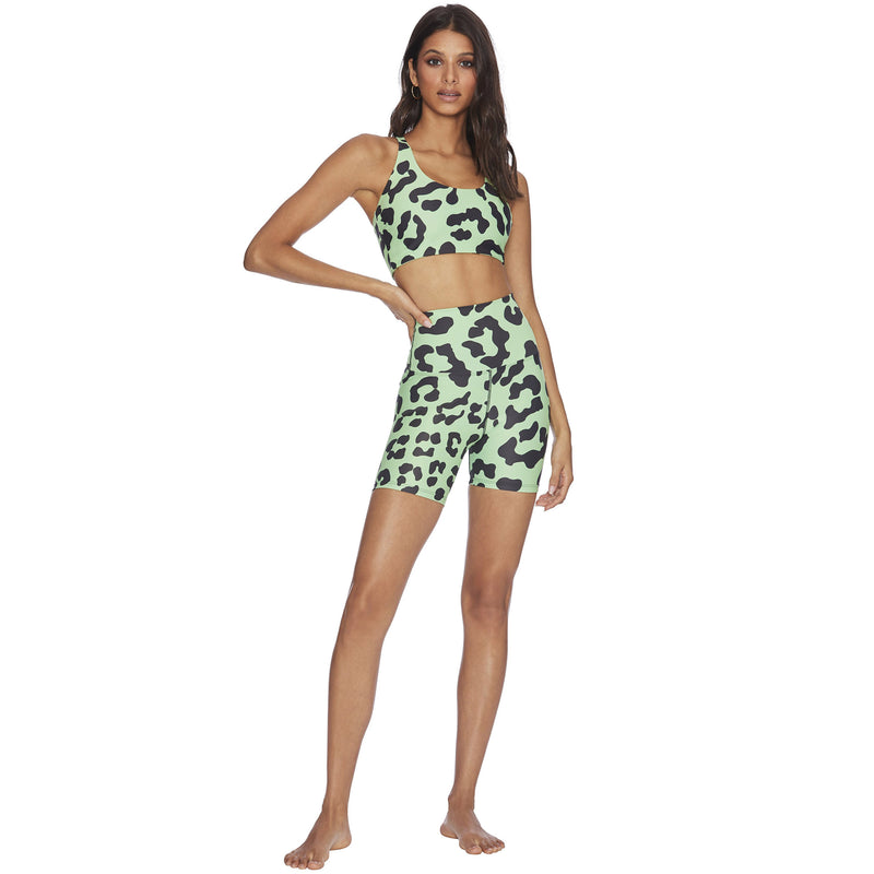 Green Leopard Bike Short by Beach Riot