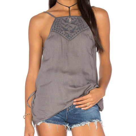 Emanuelle Embroidered Wrap Back Tank by LA Made