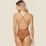 Suede Boogie Nights Bodysuit in Coco by Blue Life