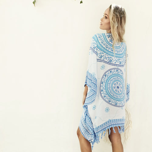 Gypsy Blue Mandala Beach Kimono by Gypsy Mermaid