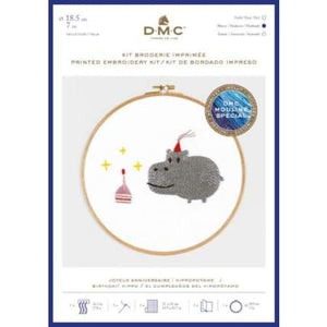 DMC Embroidery Kits Pets Party (Large) - Birthday Hippo - Craft