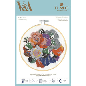 DMC V & A Art Deco Flowers Cross Stitch Kit - Deco Composition (BL1196/77) - Craft